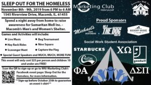 WIU Marketing Club Sleepout for the Homeless Flyer