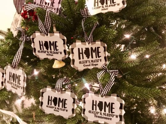 Hometown Christmas Ornaments displayed on tree