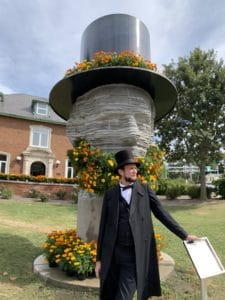 Abe with Macomb's Living Lincoln Topiary Monument