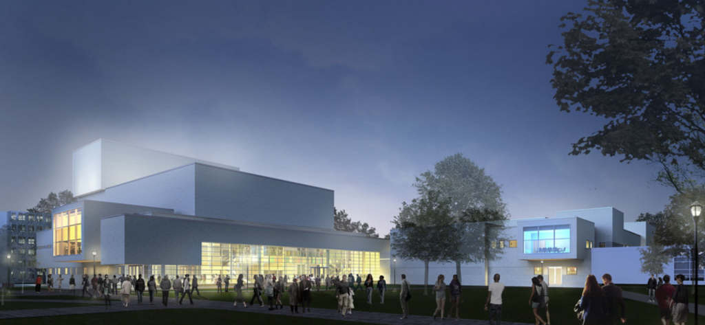 Architectural rendering of the future Center For The Performing Arts exterior 2
