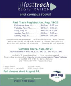 Spoon River College Fastrack Registration flyer