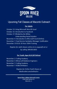 Spoon River College Fall 2020 Class Schedule