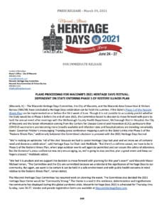 Heritage Days 2021 A Go - PRESS RELEASE