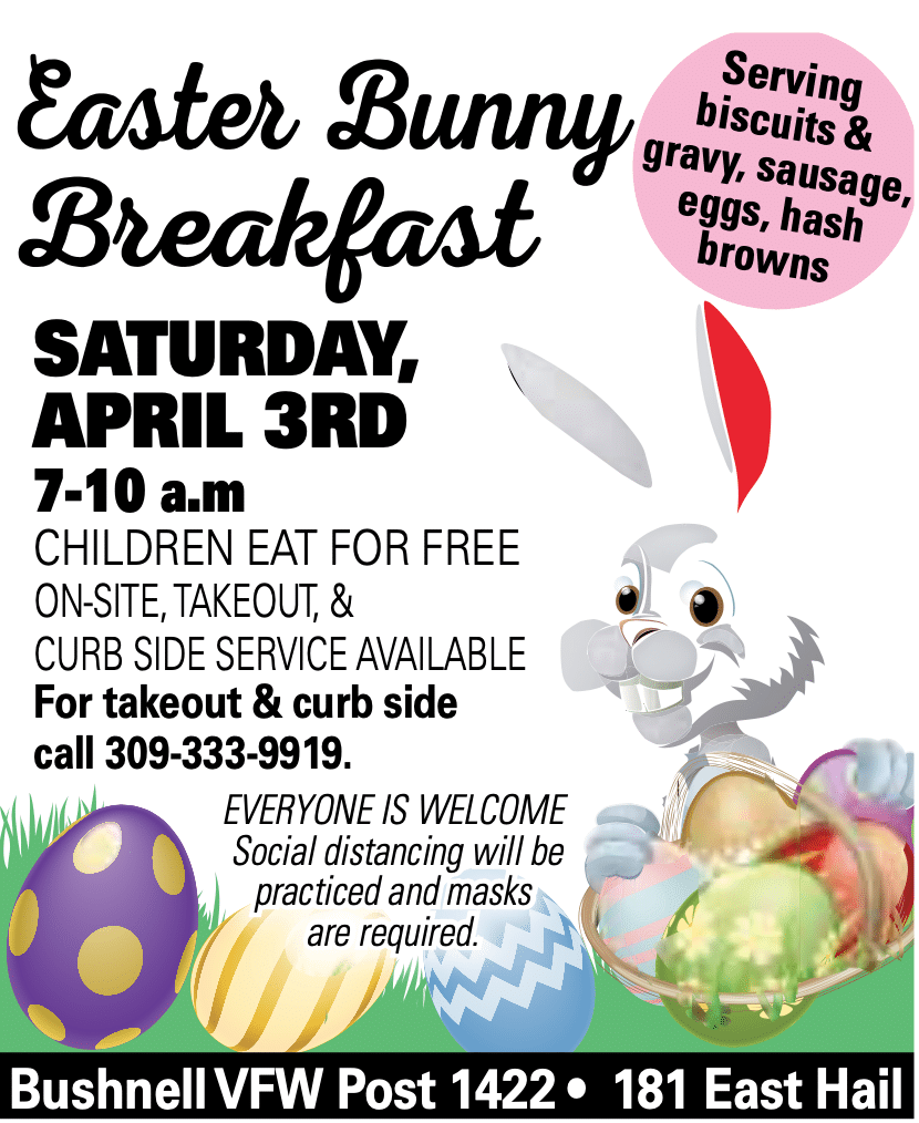 Bushnell VFW Easter Breakfast flyer